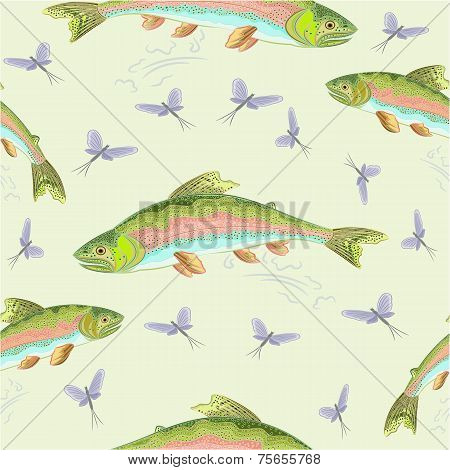 Seamless  Texture Rainbow Trout   Vector