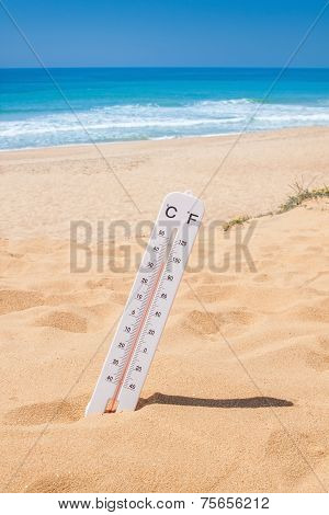 Heat Time To Come On Vacation To The Beach. Thermometer On The Beach.