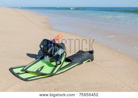 Fins, Snorkel, Mask For Diving. On The Beach The Sea.
