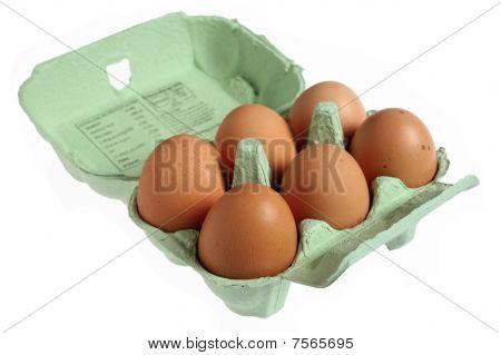 Six Eggs In A Papier Mache Egg Box