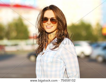 Fashion Summer Lifestyle Portrait Beautiful Woman In Sunglasses Posing In The City, Evening Sunset S