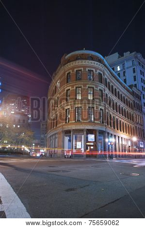 Boston City Streets At Night
