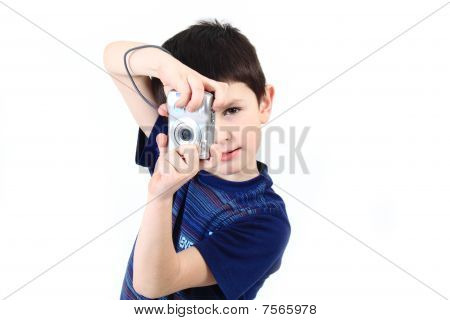 Small Boy Photographing Vertical With Digital Camera