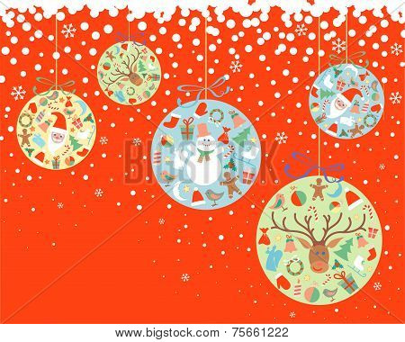 New Year and Christmas balls with decorations