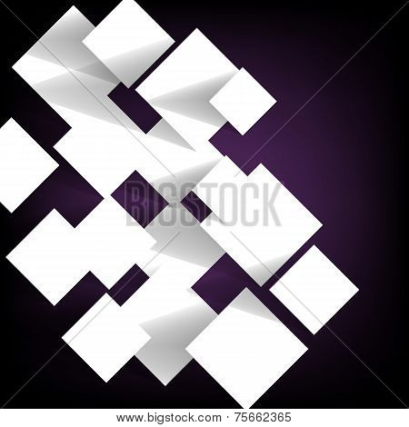 Paper Square Banner On Violet Background