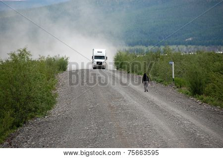Man And Truck At Gravel Road Kolyma To Magadan Highway Yakutia