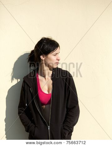 Young Sports Woman Standing Outside With Black Sweatshirt
