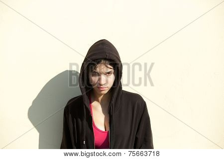 Young Sports Woman Standing Outdoors With Sweatshirt