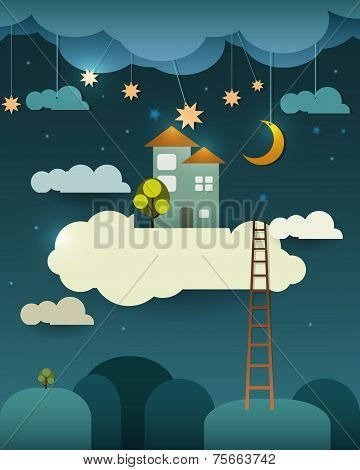 Abstract Paper-fantasy Home Sweet Home -moon With Stars