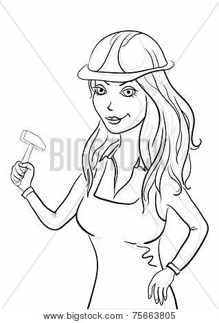 Girl worker with a hammer, contours
