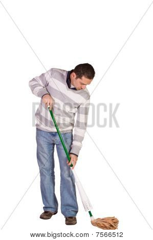 Casual Man Mopping The Floor