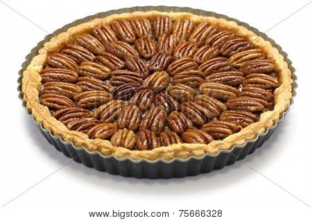 homemade pecan pie isolated on white background
