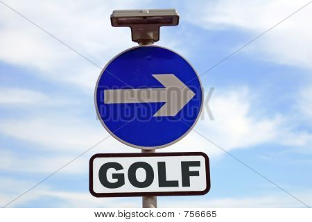 Conceptual golf sign
