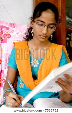 Young Indian Girl Preparing For Exams.