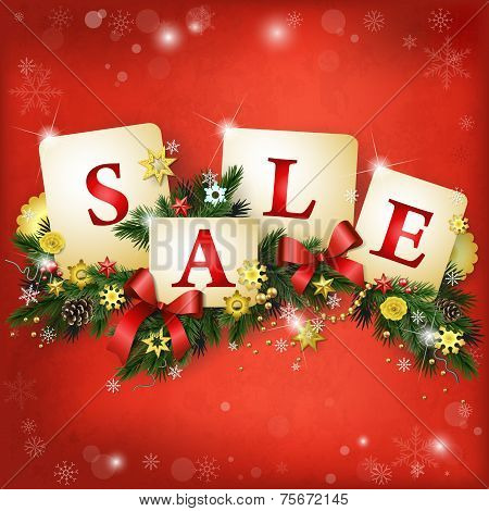 Christmas Sale Background In Red And Gold