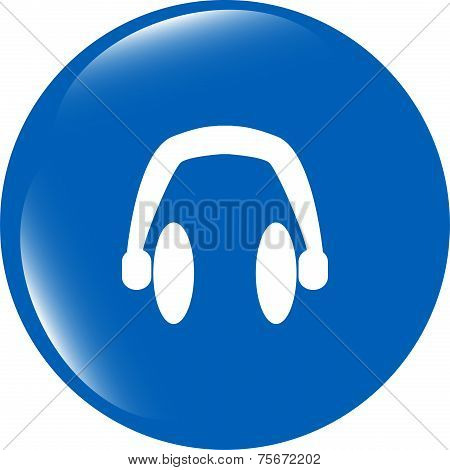 Modern Headphone Buttons Web Icon Isolated On White Background