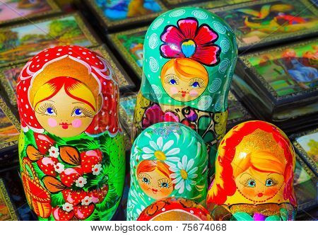 Traditional Russian Toys For Children - Nested Doll Dolls.