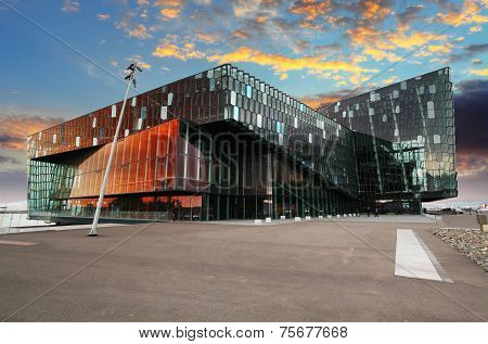 Reykjavik, Iceland - Juny 9: Twilight Scene Of Harpa Concert Hall In Reykjavik Harbor, Iceland Late