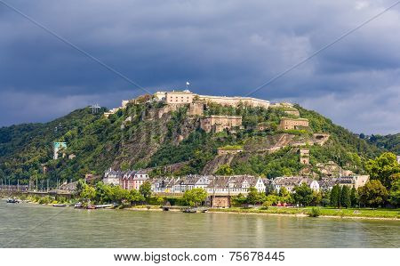 View Of Fortress Ehrenbreitstein In Koblenz, Germany
