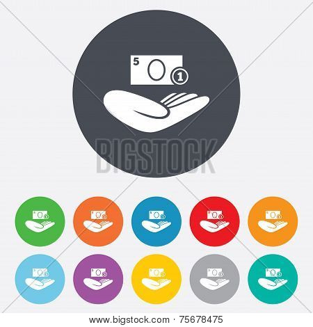 Donation hand sign icon. Charity or endowment.