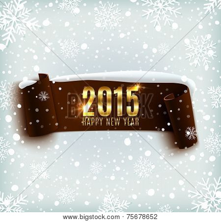 Happy New Year 2015 celebration background with realistic curved ribbon and snowflakes