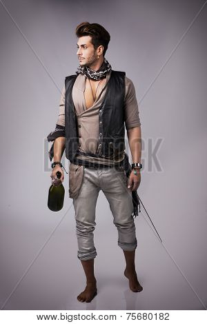 Full Body Shot Of Good Looking Young Man In Pirate Fashion Outfit