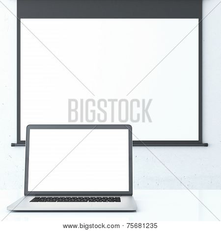 Laptop and projector screen