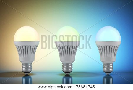 Three multicolor LED bulbs with wireless remote