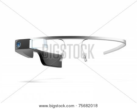 MOSCOW, RUSSIA - NOVEMBER 09, 2014. 3D rendering of black Google Glass