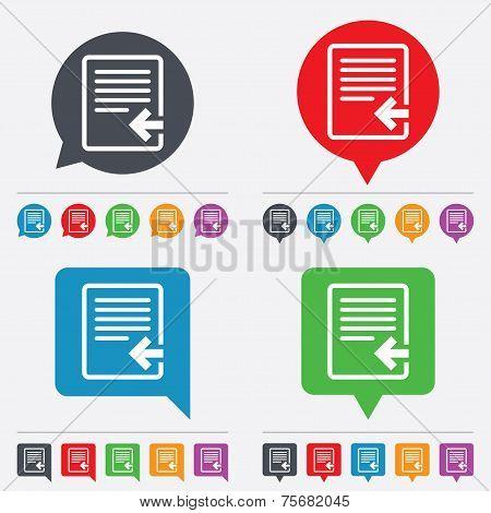 Vector Import file icon. File document symbol.