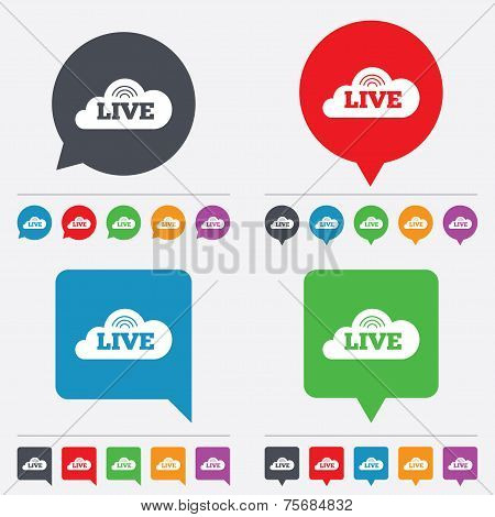 Live sign icon. On air stream symbol.