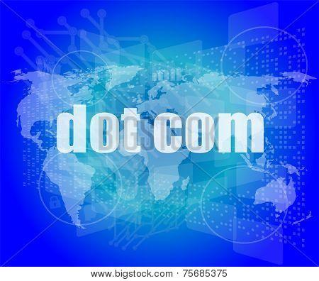 Words Dot Com On Digital Screen, Information Technology Concept