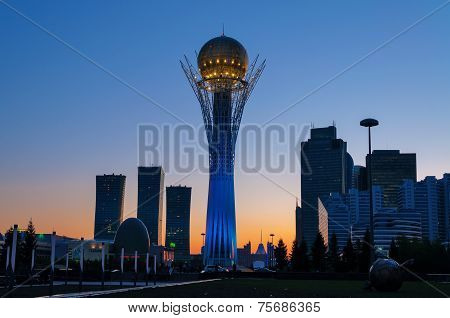 View Of Bayterek At Night. Astana