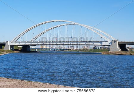 Bridge Arkhar Over The Ishim River In Astana