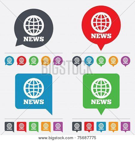News sign icon. World globe symbol.