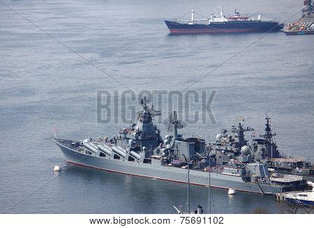 few vessels in port of Vladivostok