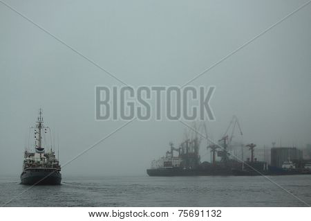 port of Vladivostok on Japanese sea