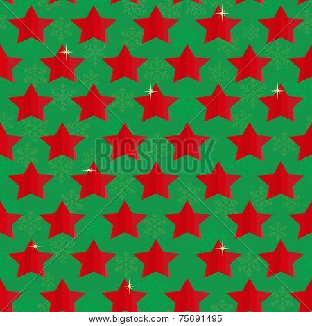 Seamless Festive Christmas Background With Stars And Snowflakes On Green
