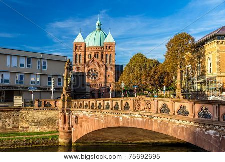 View Of Saint-pierre-le-jeune Church In Strasbourg - Alsace, France