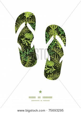 Vector evergreen christmas tree flip flops silhouettes pattern frame