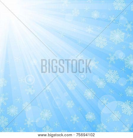 Sun beams and snowflakes