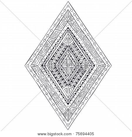 Original drawing ethnic tribal doddle rhombus 4.