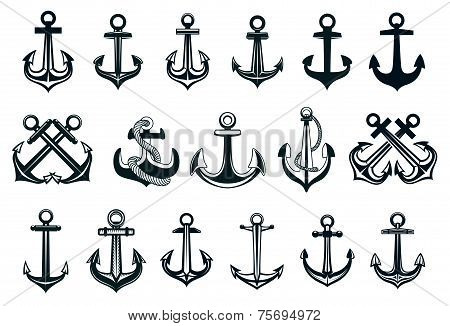 Heraldic set of ships anchor icons