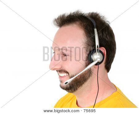 Crisis Center Volunteer Or Phone Support Man Smiling