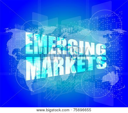 Word Emerging Marketing On Digital Touch Business Screen