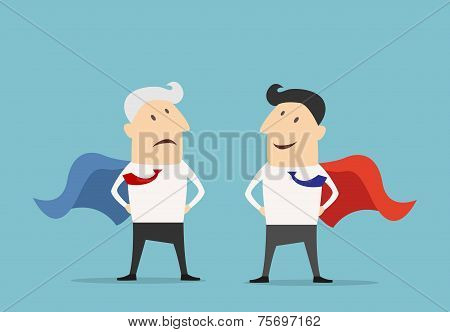 Cartoon Super hero businessman characters