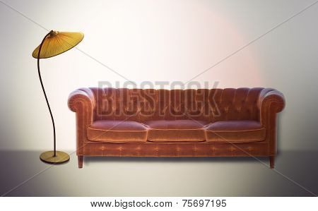 Vintage Settee And Lamp