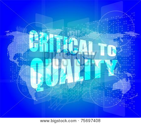 Critical To Quality Word On Business Digital Screen