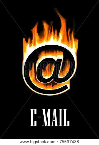 E-mail icon going up in flames