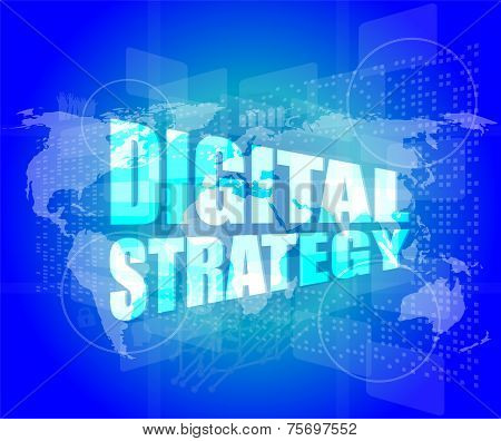Digital Strategy Word On Digital Touch Screen